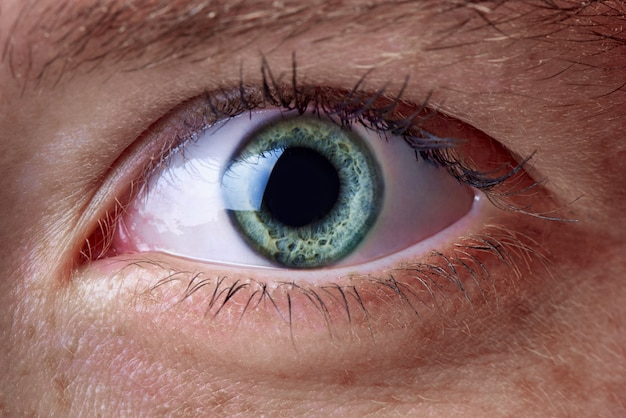 L'occhio verde della ragazza si chiuda