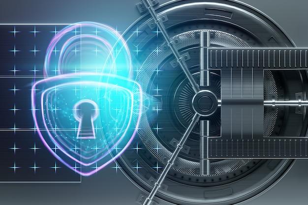 L'ologramma del castello sul muro delle porte della volta di banca. il concetto di protezione dei depositi protezione della tecnologia di protezione dei dati di risparmio. copi lo spazio 3d che l'illustrazione 3d rende.