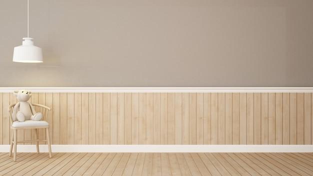 L'orsacchiotto riguarda la sedia nella rappresentazione marrone della stanza-3d