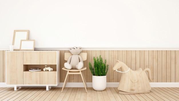 L'orsacchiotto riguarda la sedia nella stanza del bambino o la caffetteria - rappresentazione 3d