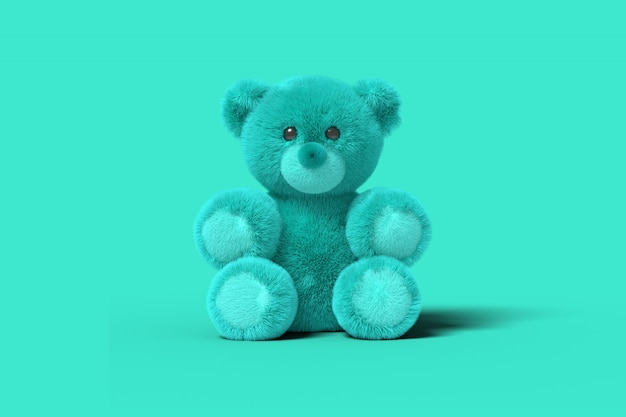 L'orso blu del giocattolo sta sedendosi sul pavimento sul blu