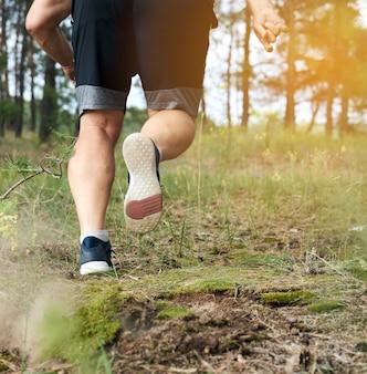 L'uomo adulto negli shorts neri corre nella foresta di conifere contro il sole luminoso