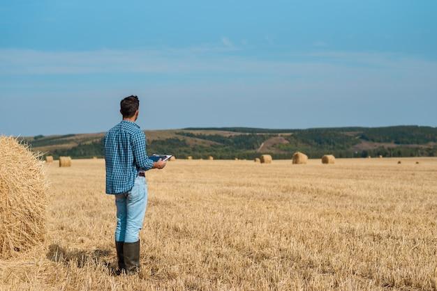 L'uomo agronomo agricoltore in jeans e camicia si trova indietro nel campo dopo la fienagione, con tablet
