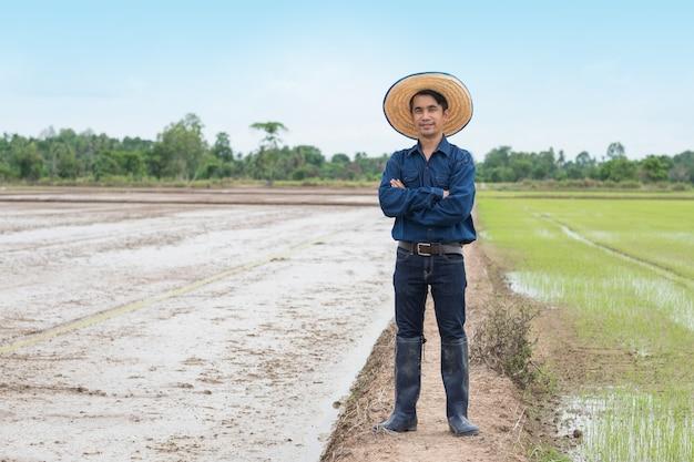 L'uomo asiatico del coltivatore indossa la camicia e il cappello blu con il braccio trasversale alla fattoria del riso verde.