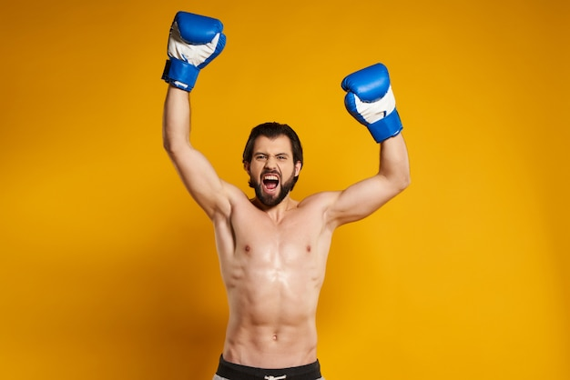L'uomo bello nei guanti di inscatolamento gode della vittoria.