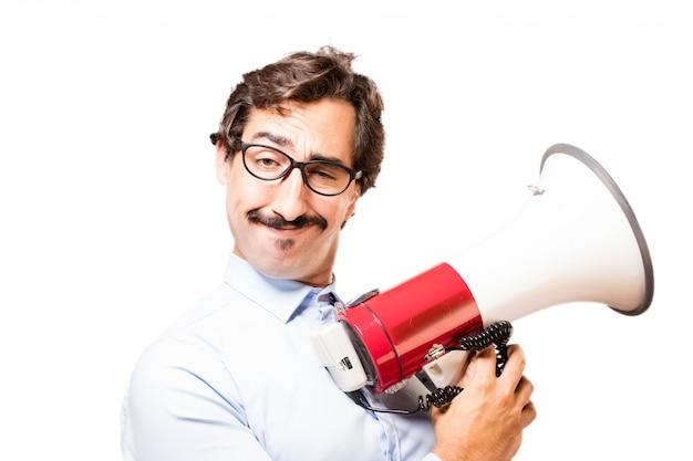 L'uomo con un megafono
