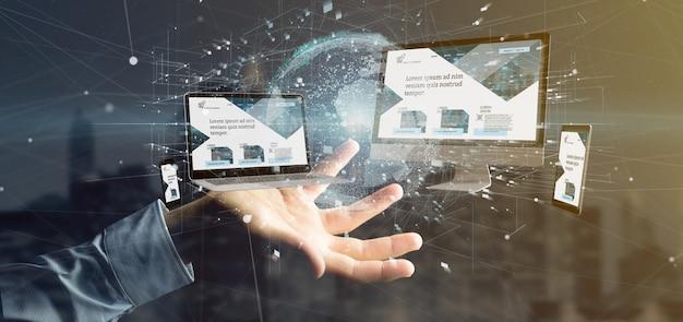 L'uomo d'affari che tiene i dispositivi si è collegato ad una rappresentazione della rete aziendale globale 3d