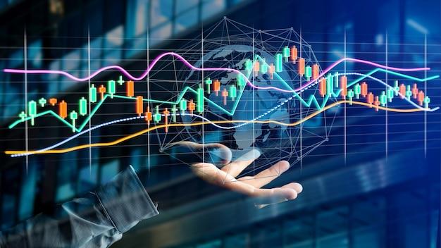 L'uomo d'affari che tiene un 3d rende le informazioni di commercio di scambio di borsa visualizzano l'interfaccia onfuturistica