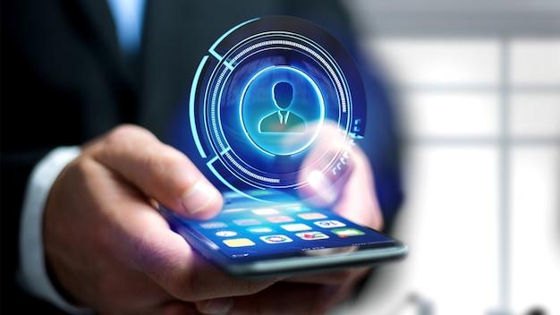 L'uomo d'affari facendo uso di uno smartphone con un bottone tecnologico del contatto della rete di shinny, 3d rende