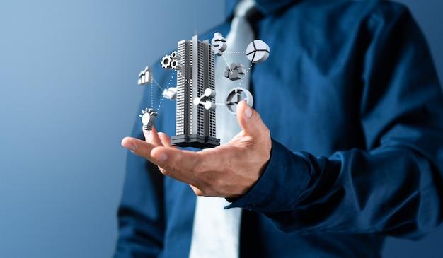 L'uomo d'affari mostra l'icona della gestione 3d dell'affare