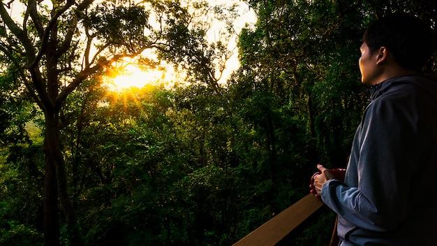 L'uomo guardando il tramonto nella foresta