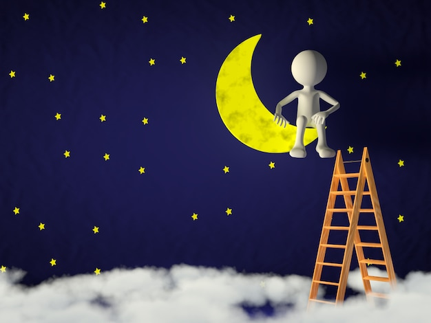 L'uomo ha scalato la luna sulle scale.