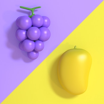 L'uva 3d viola-porpora e il tono minimo due 3d di stile del fumetto del mango giallo rendono