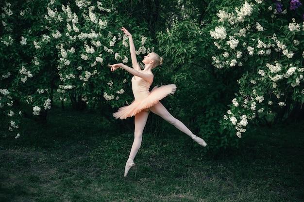 La ballerina che balla all'aperto il balletto classico posa nel paesaggio dei fiori