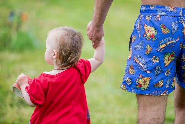 La bambina in vestito rosso cammina attraverso la mano del padre della tenuta del campo