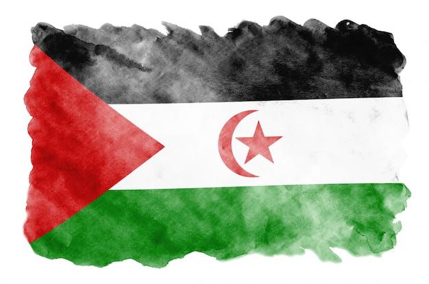 La bandiera del sahara occidentale è raffigurata in stile acquerello liquido isolato su bianco