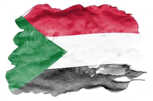 La bandiera del sudan è raffigurata in stile acquerello liquido isolato su bianco