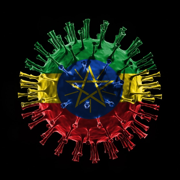 La bandiera dell'etiopia su covid-19 è un concetto di virus. rendering 3d