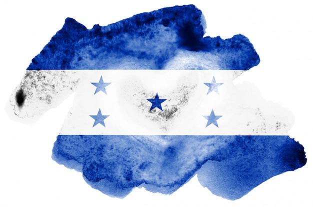 La bandiera dell'honduras è raffigurata in stile acquerello liquido isolato su bianco