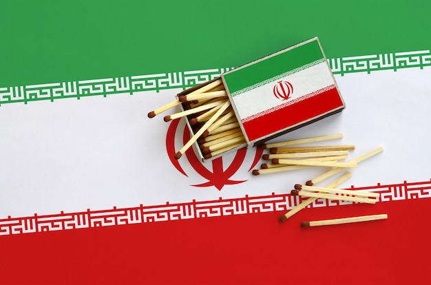 La bandiera dell'iran è mostrata su una scatola di fiammiferi aperta, dalla quale cadono diverse partite e si trova su una grande bandiera