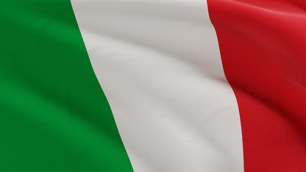 La bandiera dell'italia che ondeggia nel vento, la micro struttura del tessuto nella qualità 3d rende