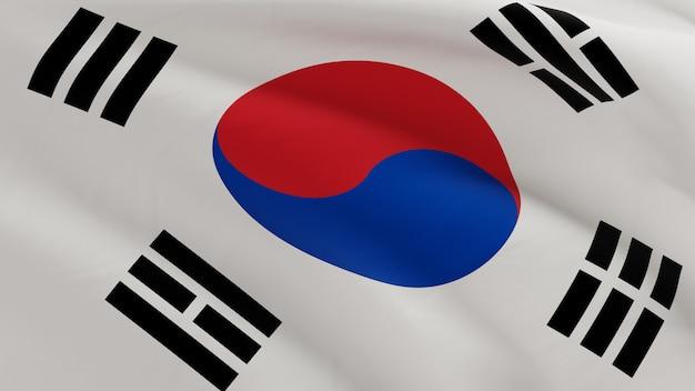 La bandiera della corea del sud che ondeggia nel vento, la micro struttura del tessuto in qualità 3d rende