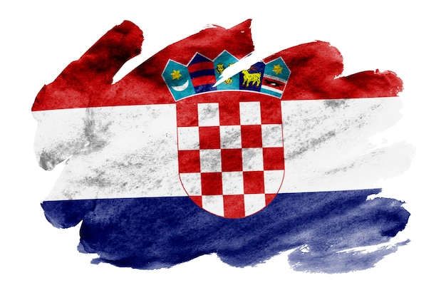 La bandiera della croazia è raffigurata in stile acquerello liquido isolato su bianco