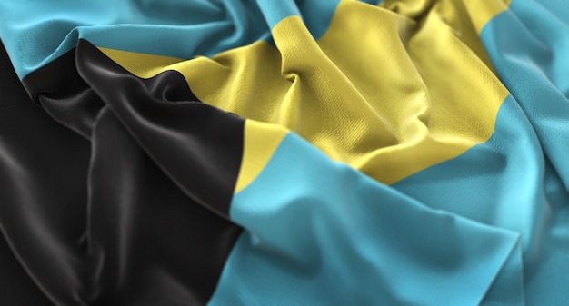 La bandiera delle bahamas ruffled beautifully waving macro close-up shot