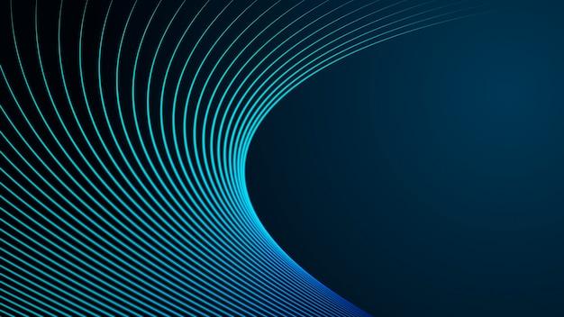 La bella spirale elettrica di energia magica astratta verde blu ha filato le linee parallele ardenti cosmiche