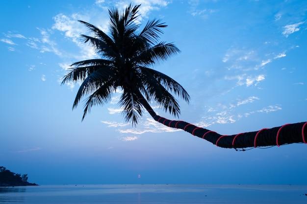 La bellezza del mare al tramonto sotto le palme da cocco a haad salad beach, koh phangan