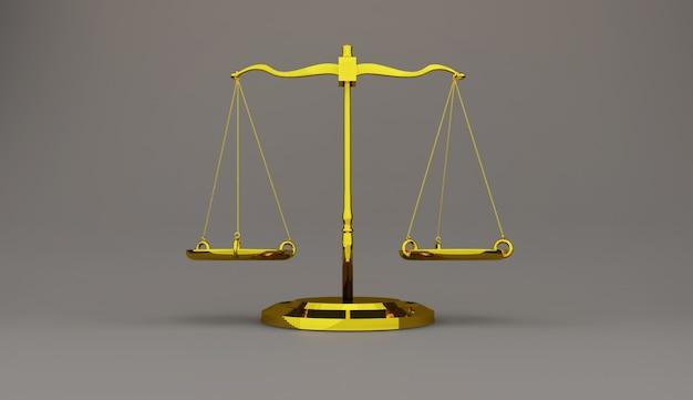 La bilancia della giustizia legge le scale 3d rende
