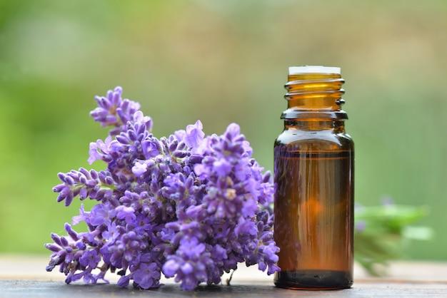 La bottiglia di olio essenziale e il mazzo del fiore della lavanda hanno sistemato su una tavola di legno su fondo verde