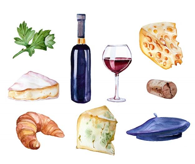 La bottiglia di vino dipinta a mano dell'acquerello, il vetro va vino, croissant, formaggi e berretto clipart insieme isolato su bianco. illustrazione di concetto di viaggio.