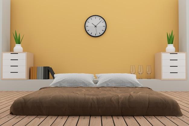La camera da letto con la decorazione nella stanza gialla in 3d rende