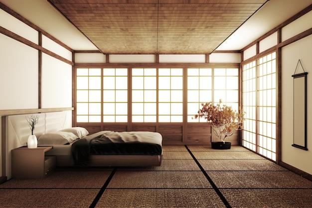 La camera da letto moderna di lusso di stile giapponese interna deride su