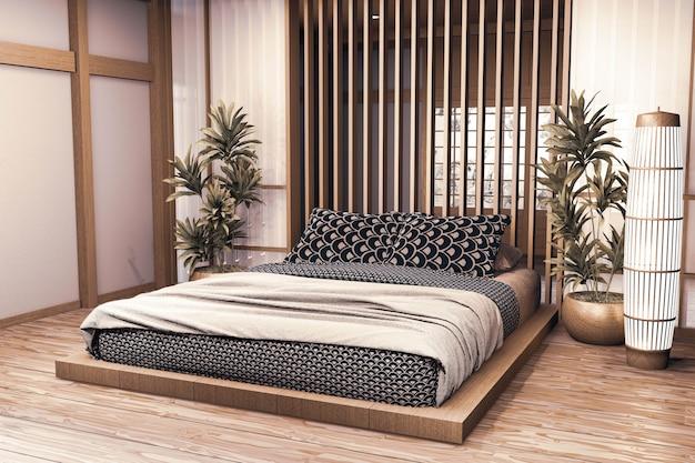 La camera da letto moderna di lusso in stile giapponese si imita, progettando la più bella. rendering 3d