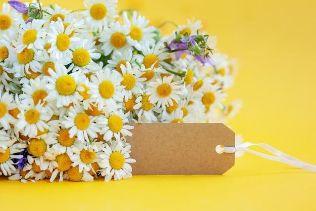 La camomilla fiorisce con l'etichetta vuota su giallo