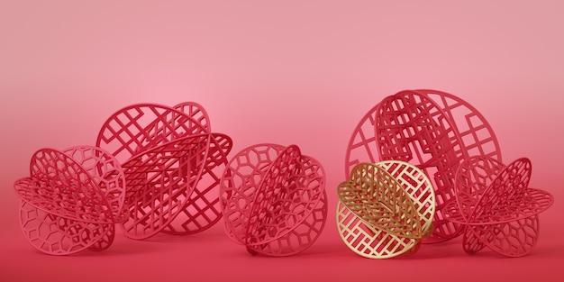 La carta cinese rossa e oro ha tagliato a forma di palla sulla superficie rosa.