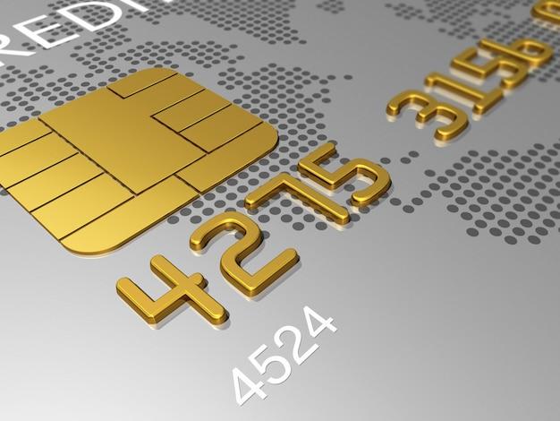 La carta di credito d'argento, macro dettaglio 3d rende