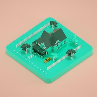 La casa isometrica verde 3d rende l'illustrazione su fondo rosa