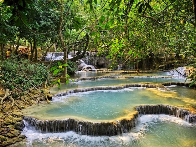 La cascata nella giungla, laos