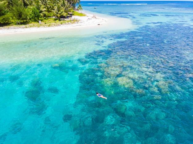 La cima aerea giù la gente che si immerge sul mare caraibico tropicale della barriera corallina