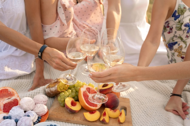 La compagnia di amiche si gode un picnic estivo e alza bicchieri di vino