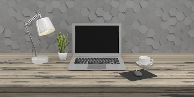 La composizione minima nel sottotetto con il computer portatile sulla tavola di legno sulla parete 3d del calcestruzzo 3d rende