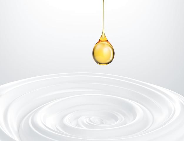 La crema bianca di bellezza con goccia di olio liquida, fondo bianco cosmetico include il percorso di ritaglio