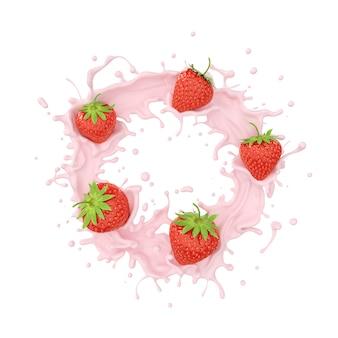 La crema della spruzzata della fragola e del latte o del jogurt alla frutta, include il percorso di ritaglio, la rappresentazione 3d.