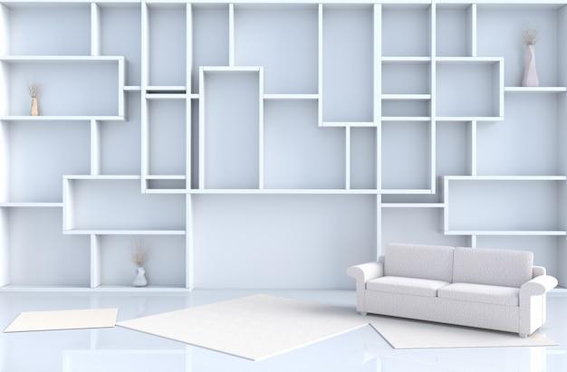 La decorazione bianca vuota del salone con la parete degli scaffali, 3d rende