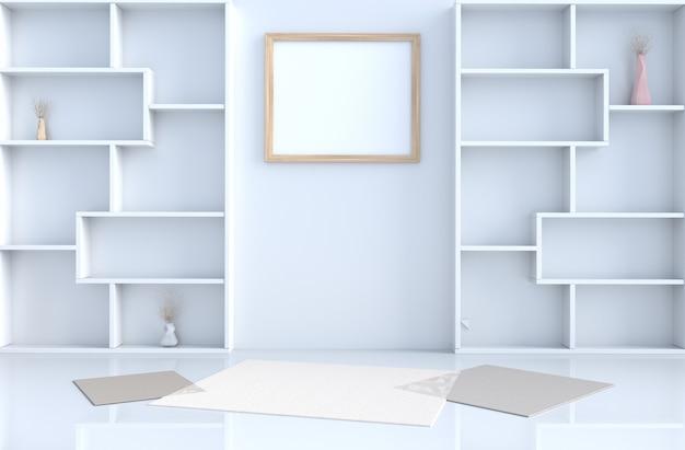 La decorazione vuota della stanza bianca con la parete degli scaffali, la pavimentazione in piastrelle, tappeto, ramo in 3d rende.