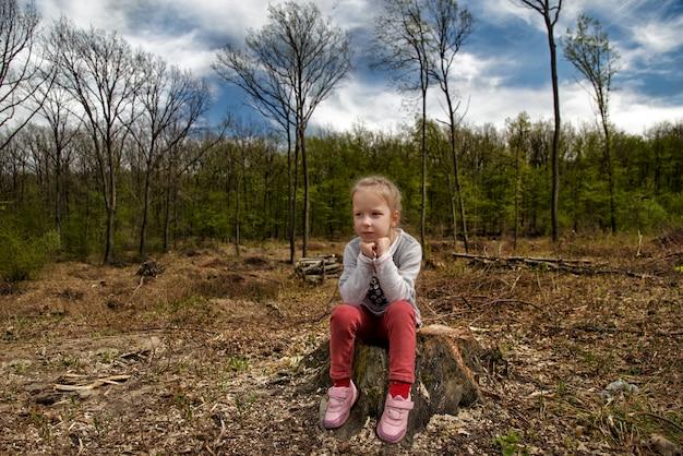 La deforestazione. problemi ecologici del pianeta, disboscamento delle foreste di pini. la bambina ispeziona il sito di deforestazione