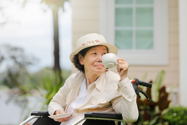 La donna anziana si rilassa sulla sedia a rotelle in cortile